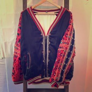 Free People Silk Embroidered Bomber Jacket